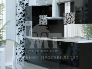 Черный кухонный гарнитур 1